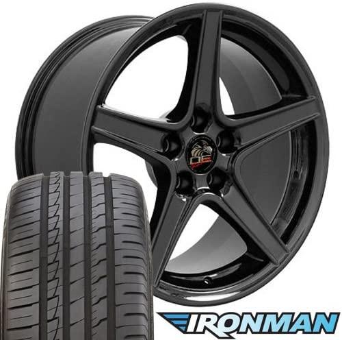 OE Wheels LLC 18 Inch Fits Ford Mustang 1994-2004 Saleen Style FR06B Gloss Black 18x9 Rims Ironman iMove Gen2 Tires SET