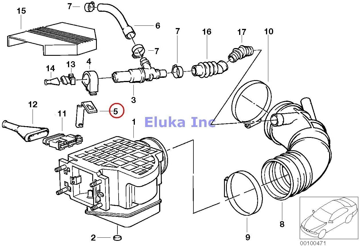 BMW Genuine Fuel Injection Volume Air Flow Sensor Bracket 528e 325i 325ix 525i