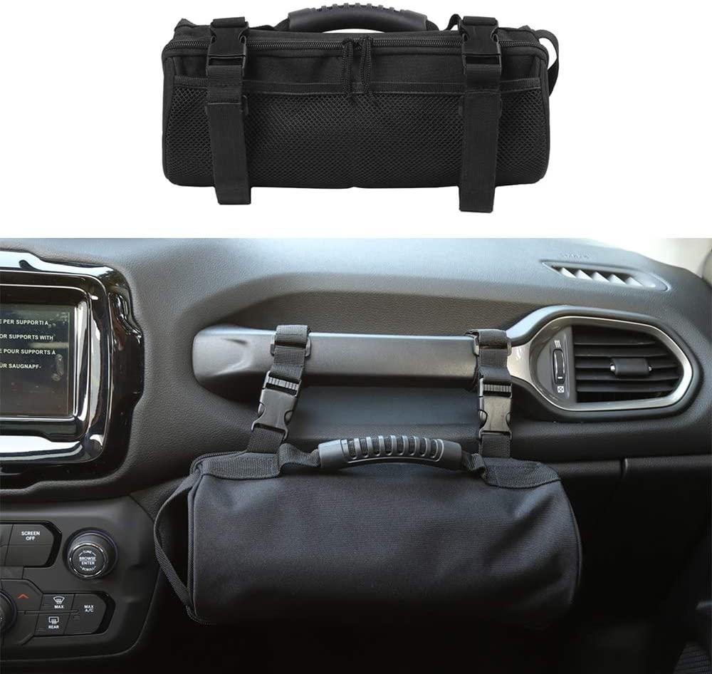 JUNLELI Co-pilot Grab Bar Storage Bad Handle Organize Tray for Jeep Renegade 2016 2017 2018 2019 2020 Oxford Cloth Black Car Accessories
