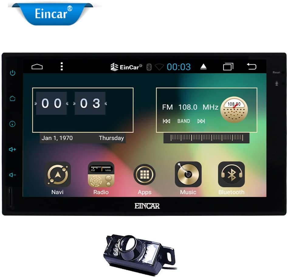 Eincar Universal Car Stereo Android 6.0 Marshmallow Double Din Car Radio Player Head Unit in Dash GPS Navigation Support OBD2 Phone Mirroring Bluetooth WiFi USB FM/AM 3G + Free Back Up Camera