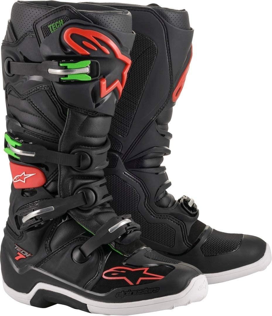 Alpinestars Men's Tech 7 Motocross Boot, Black/Red/Green, 6