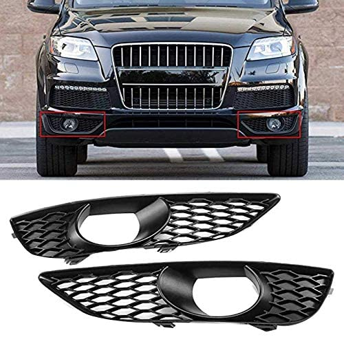 Fog Light Grilles Front Bumper Fog Lamp Frame Car Front Bumper Fog Light Grille Cover Fit for Audi Q7 4L 4L S LINE N/S 2009-2014 4L0807675C (Color : Black)