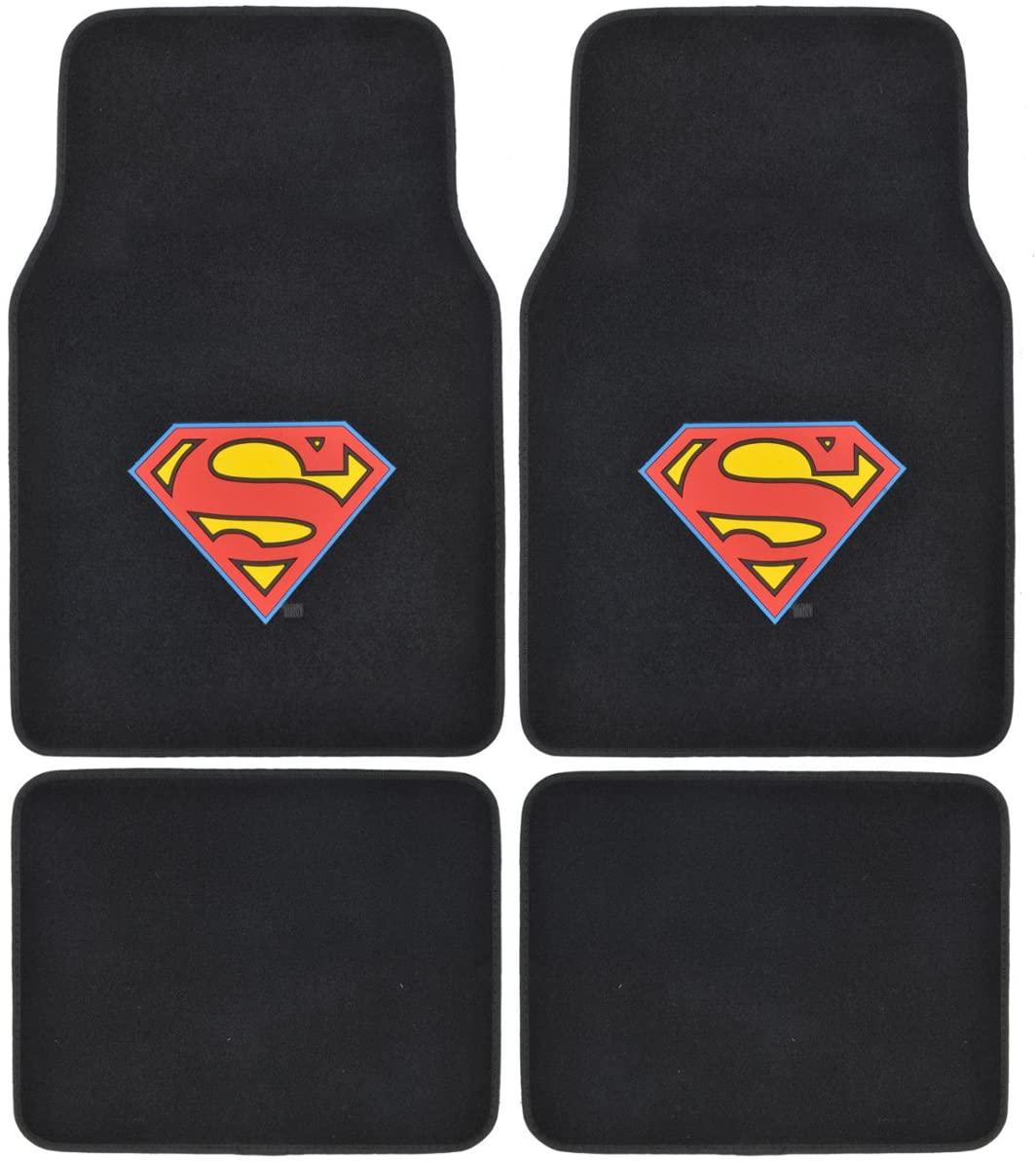 BDK WMT1601 Black Superman Carpet Floor Car SUV Van & Truck-Original Design Mats-4 Pieces
