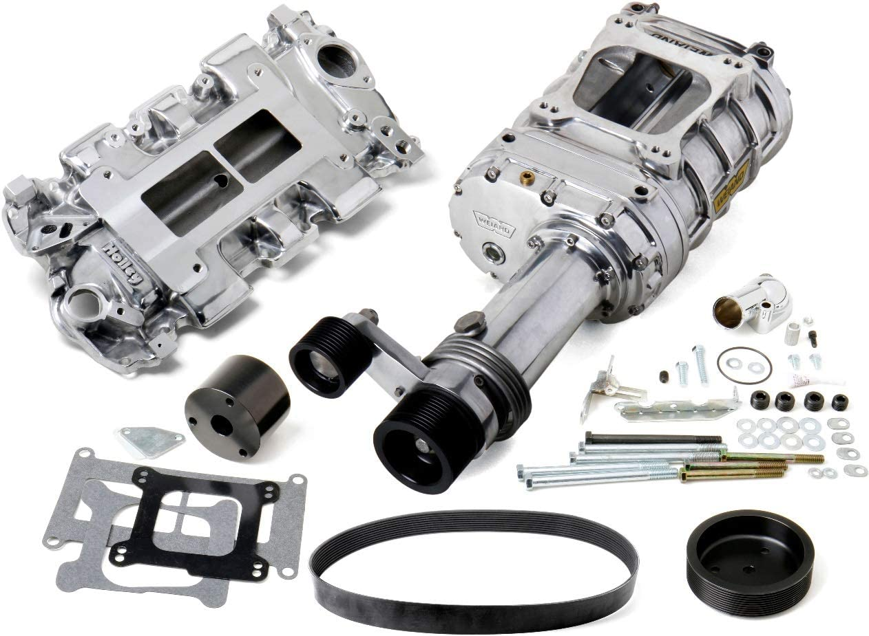 BRAND NEW WEIAND 144 PRO-STREET UNIVERSAL SUPERCHARGER KIT,POLISHED FINISH,LOW PROFILE,LONG NOSE,10-RIB DRIVE BELT,STANDARD HEADS,COMPATIBLE WITH SMALL BLOCK CHEVY