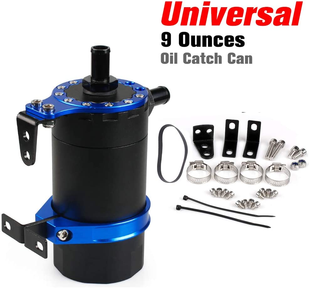RASTP Baffled Oil Catch Can Reservoir Tank Kit Aluminum Oil Tank Universal Car Accessories RS-OCC020 (Blue)