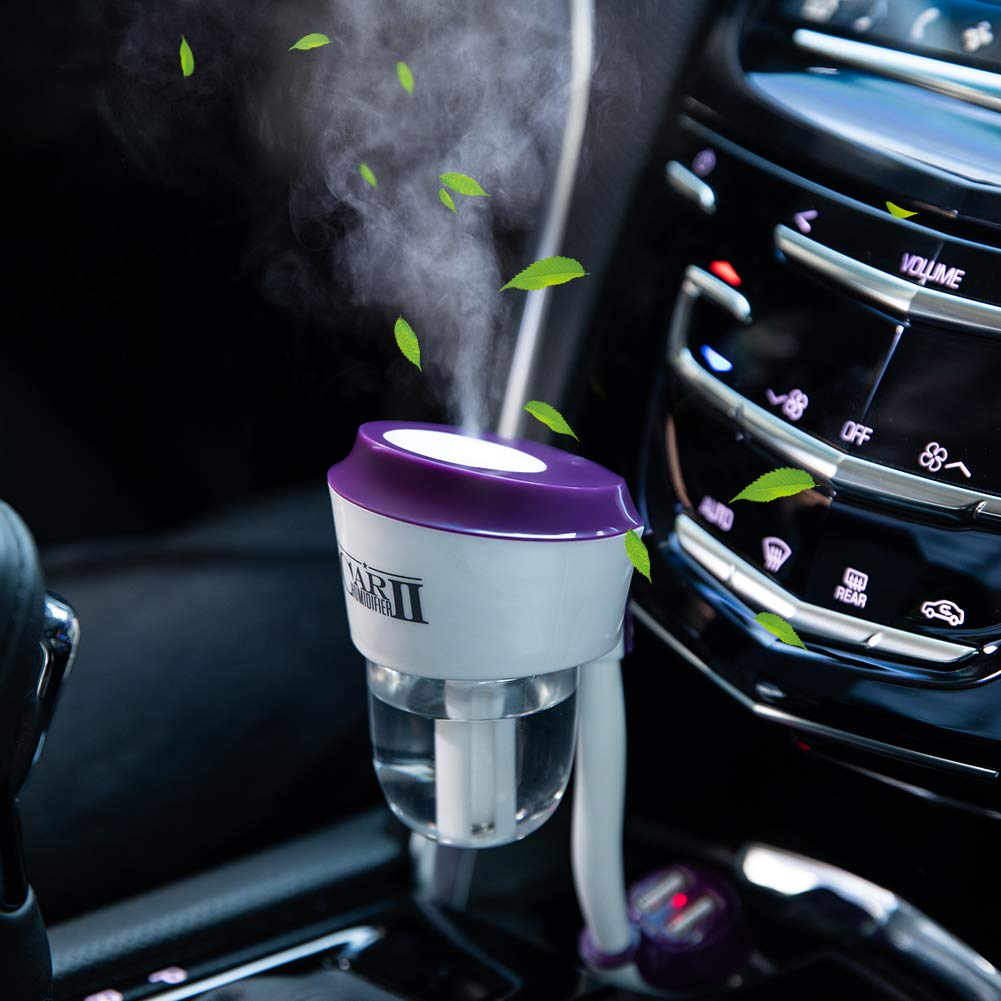 Car Humidifier Essential Oil Diffuser with Dual USB Charger Adapter, Portable Auto Shut-Off Air Refresher for Vehicle Automobile Gift (Purple)
