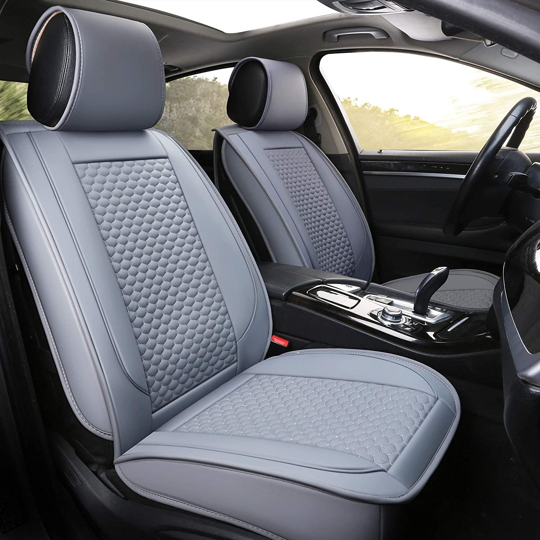 INCH EMPIRE Car Seat Cover-Football Liner Half Perforated Leatherette Cushion Fit for Sedan SUV Hatchback Truck Tacoma Sorento Accord Carolla Outback Xttera HHR Maxima Impala Malibu CX7(Grey Full Set)