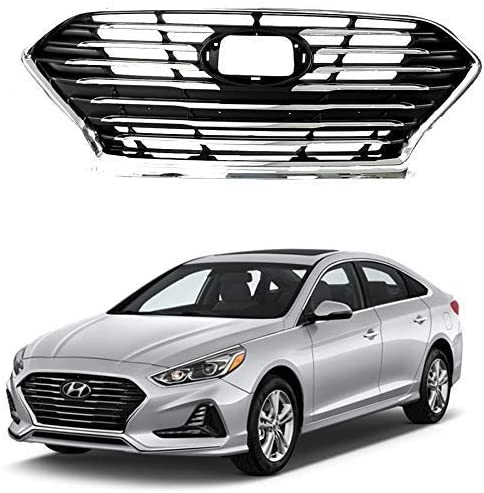 AutoModed Front Bumper Grille Replacement Compatible with 2018 2019 Hyundai Sonata w/o Adaptive Cruise | Chrome ABS | by AutoModed…