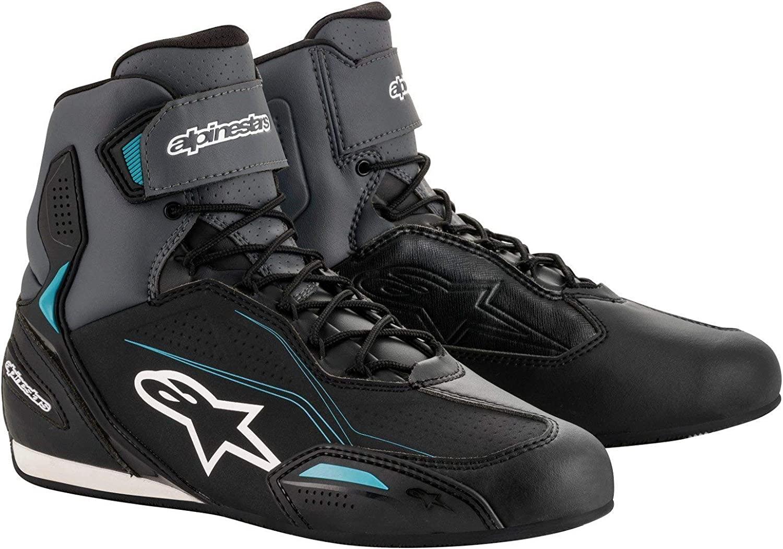 Alpinestars Women's Stella Faster-3 Motorcycle Shoes, Black/Gray/Ocean, 8