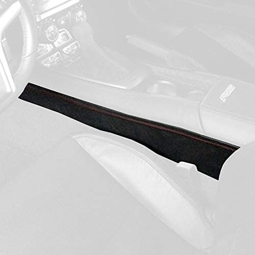 RedlineGoods Lower Center Console Cover Compatible with Chevrolet Camaro 2010-15. Black Alcantara-Silver Thread