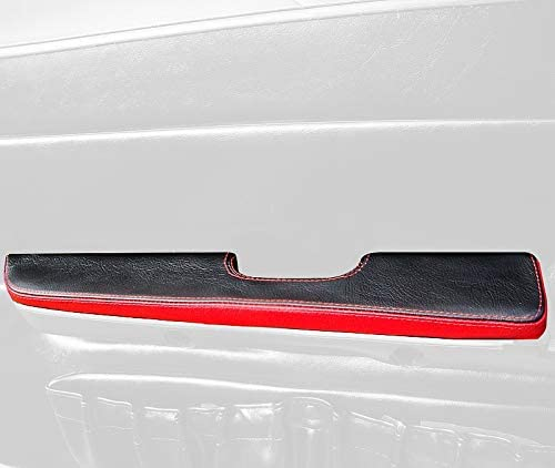 RedlineGoods Door armrest Covers Compatible with Ford Mustang 1987-93. Black Leather-Blue Thread
