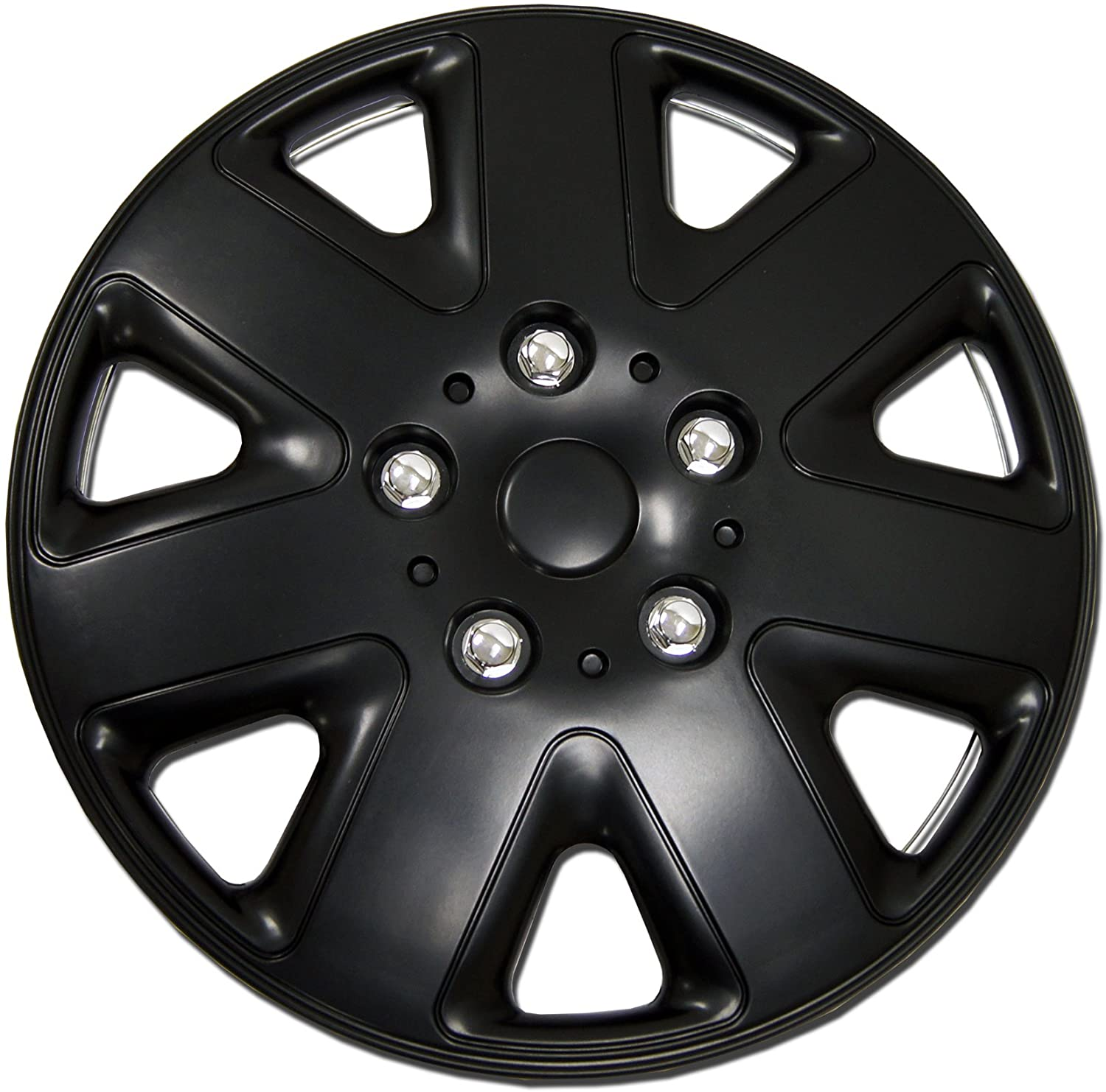 Tuningpros WC1P-16-1026-B - Pack of 1 Hubcap (1 Piece) - 16-Inches Style Snap-On (Pop-On) Type Matte Black Wheel Covers Hub-caps