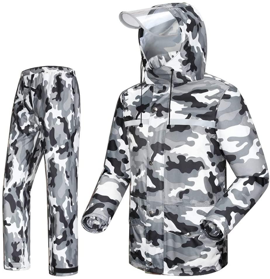 LIUDONGXIN Waterproof Raincoat Raincoat Mens/Womens Heavyweight Waterproof Jacket/Pants Set Adult Windproof Jacket/Pants Set Waterproof Cloak (Size : XL)