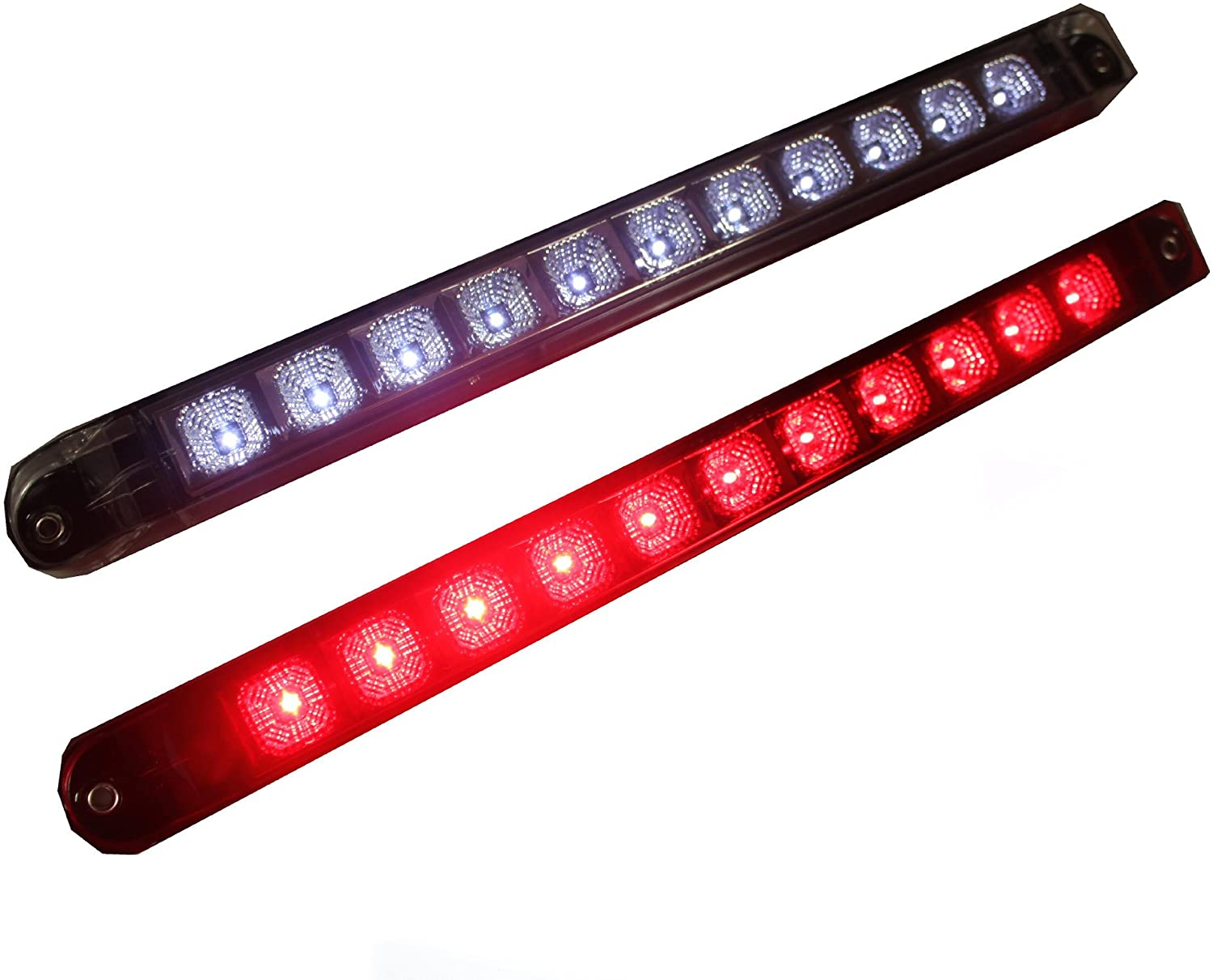 2X +++ Bright Trailer Truck 1 Clear Lens Red + 1 White 17