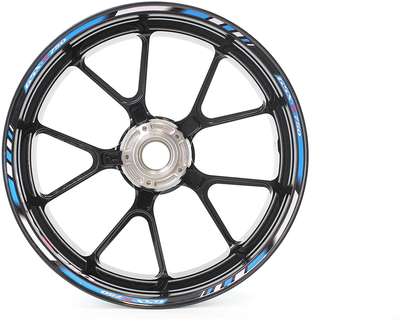 Motorcycle wheel rim decals rimstriping strips accessory sticker for Suzuki GSX-R 750 (Blue)