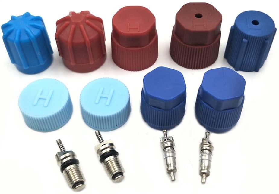 Nikauto 1set AC compressor caps and valve cores R12R134 Cap & Valve Air Conditioning System Seal Kit