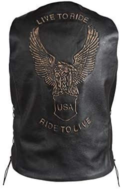 Mens Retro Black Leather Motorcycle Vest