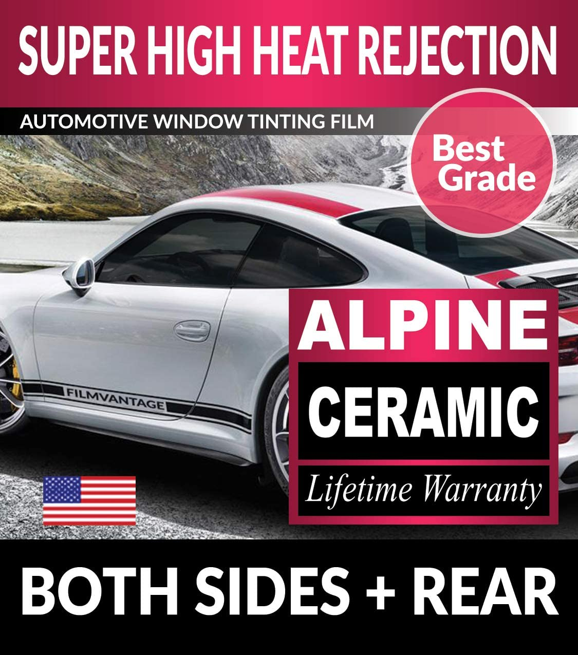 Super High Heat Rejection Alpine Precut Window Tint for VW/Volkswagen Golf 4Dr 1999-2001 2002 2003 2004 2005 2006 - F50R35