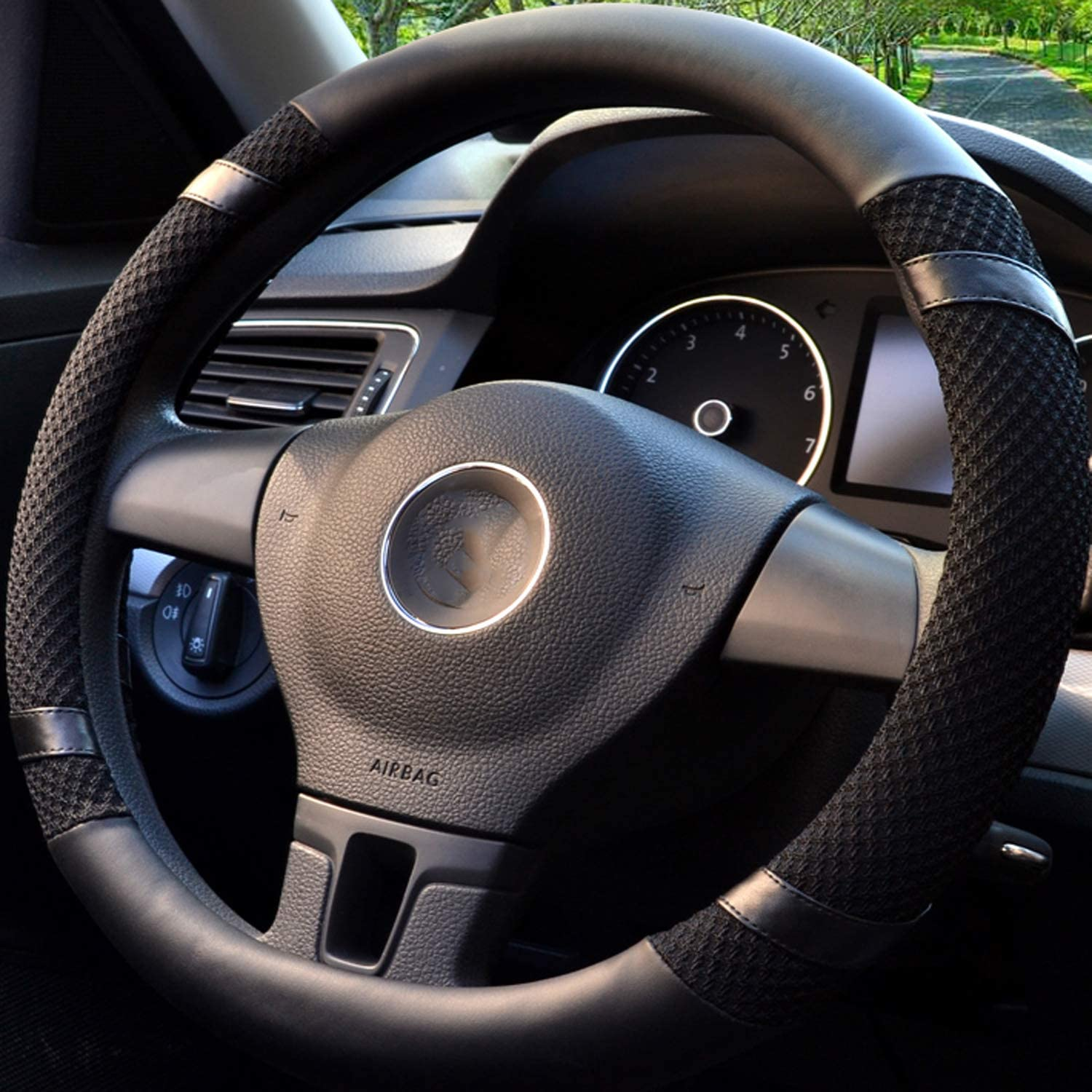Steering Wheel Cover, Black Microfiber Leather and Viscose Auto Car Steering Wheel Covers, Ice Silk Breathable, Anti-Slip, Odorless, Warm in Winter and Cool in Summer. (Universal 15 Inches)