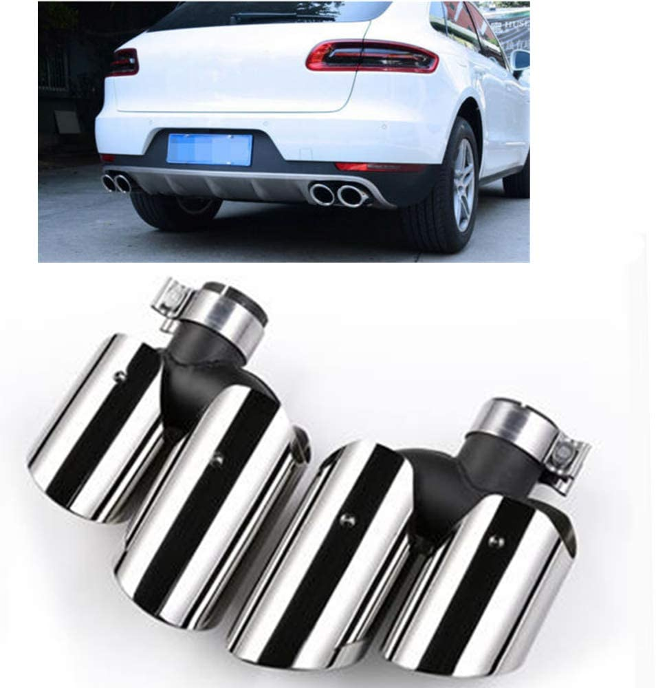 2X Exhaust Muffler Pipe For Macan 2.0T Base 2014-17 2018 Silver AA