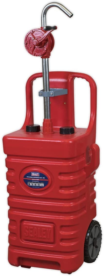 Sealey DT55RCOMBO1 55ltr Portable Dispensing Tank with Oil Rotary Pump-Red