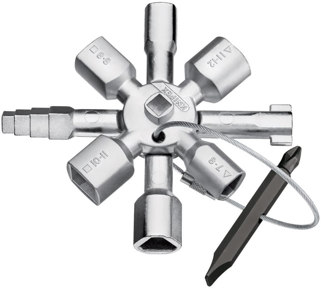 Knipex Tools LP - 1101 Twin Key Universal Control Cabinet Key, Chrome
