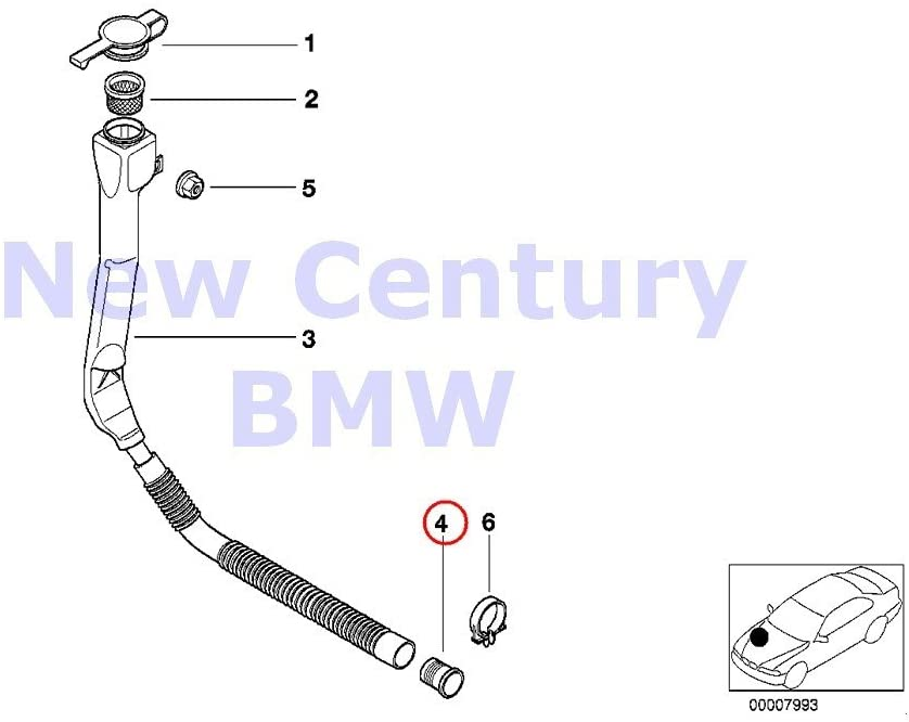 BMW Genuine Filler Pipe For Wash Container Fluid Container Grommet 525i 528i 530i 540i 540iP M5