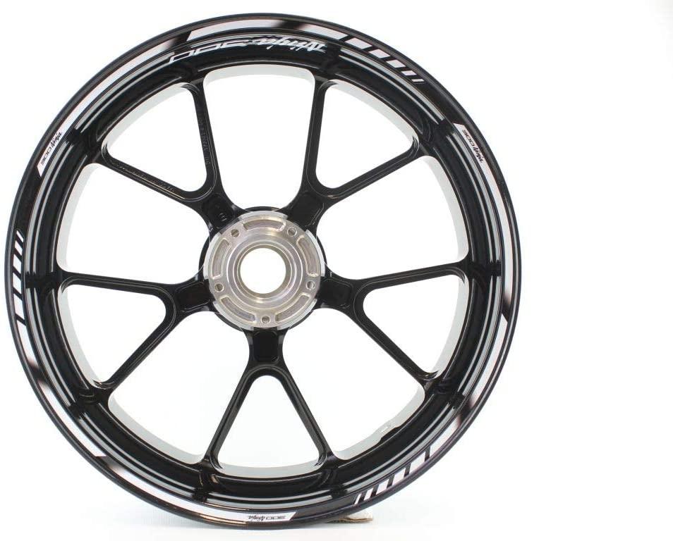 Motorcycle wheel rim decals rimstriping strips accessory sticker for Kawasaki NINJA 300 (White)