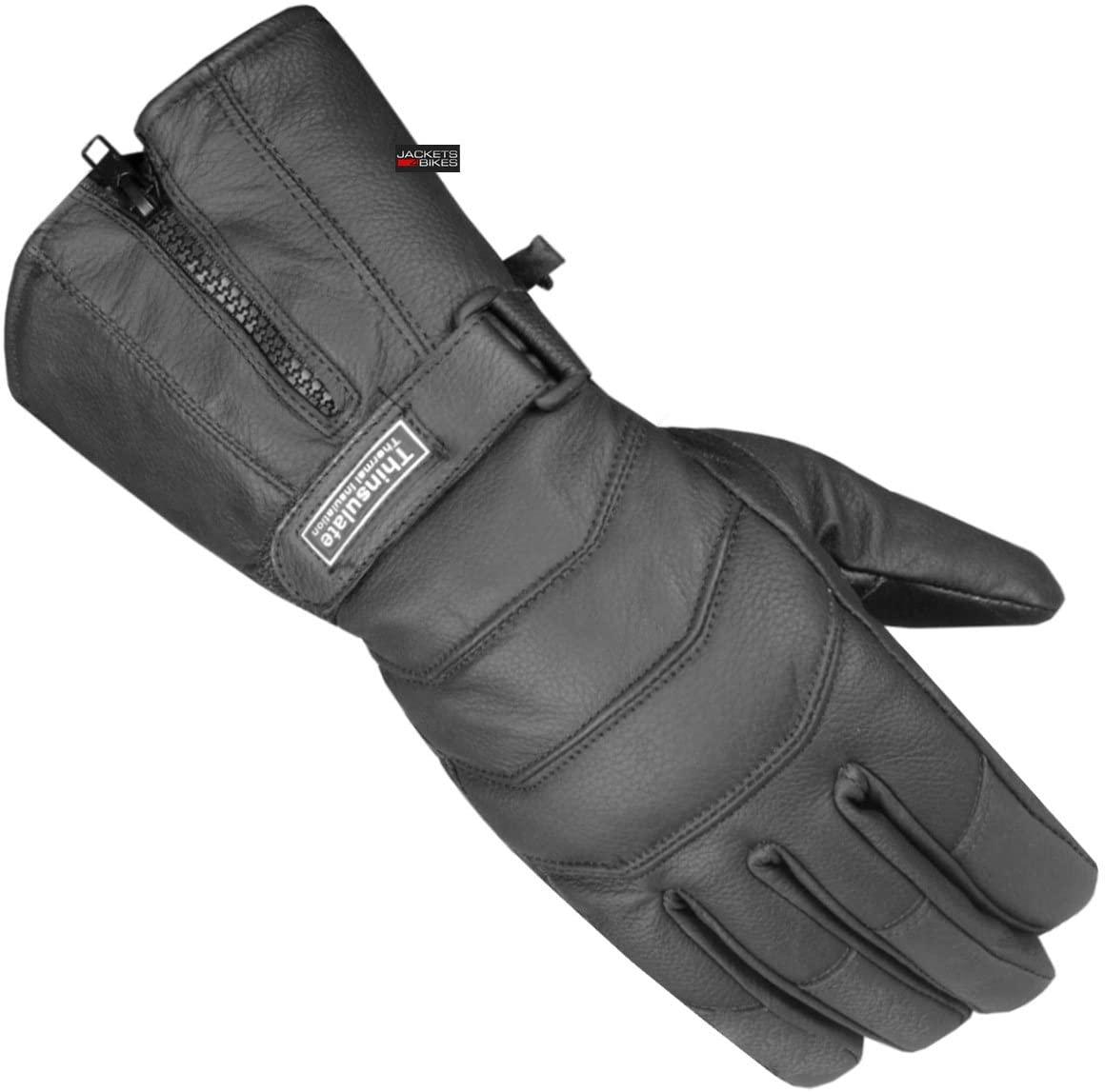 Men's Thermal Sheep Leather Winter Motorcycle Street Cruiser Gloves Black L