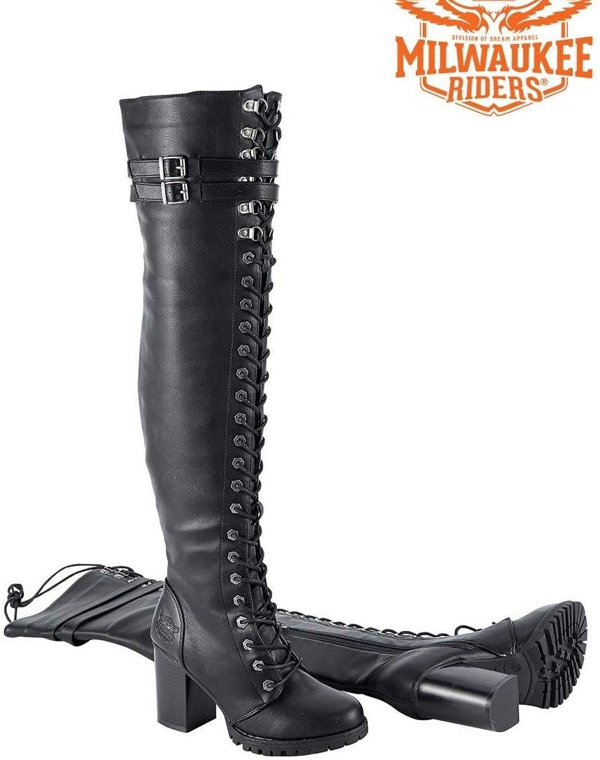 Motorcycle Ladies High Knee Fully Laced Long Harley Side Zipper Biker Boot Blk PVC (7)