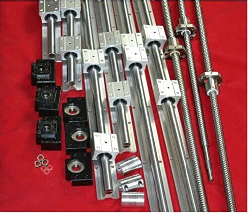 3 SBR20--350/1600/1700mm linear rail+3 RM2005-250/1500/1500mm-C7 ballscrew+BK/BF15 end bearing CNC set