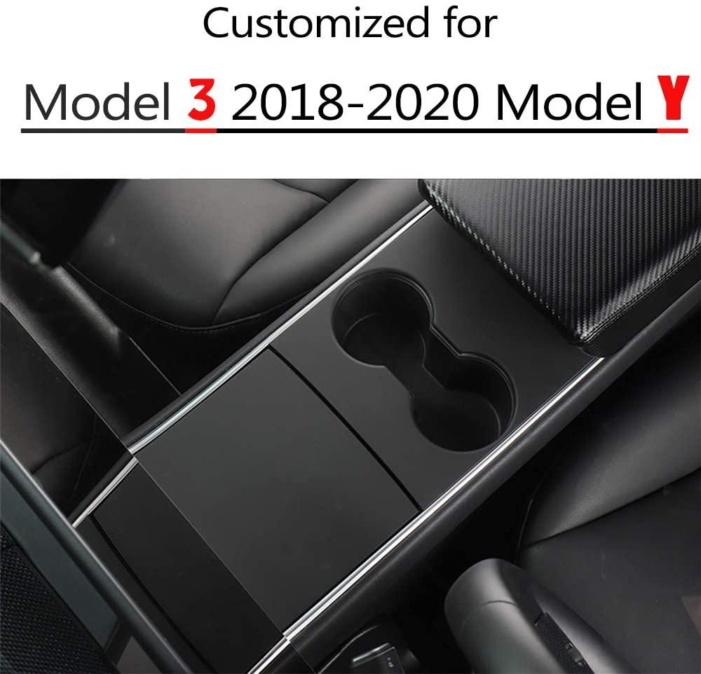 EVFIT Model 3 Model Y Center Console Cover Wrap Console Cover for Tesla Model 3 2018-2020 Model Y 2020 Accessories(Matte Black)