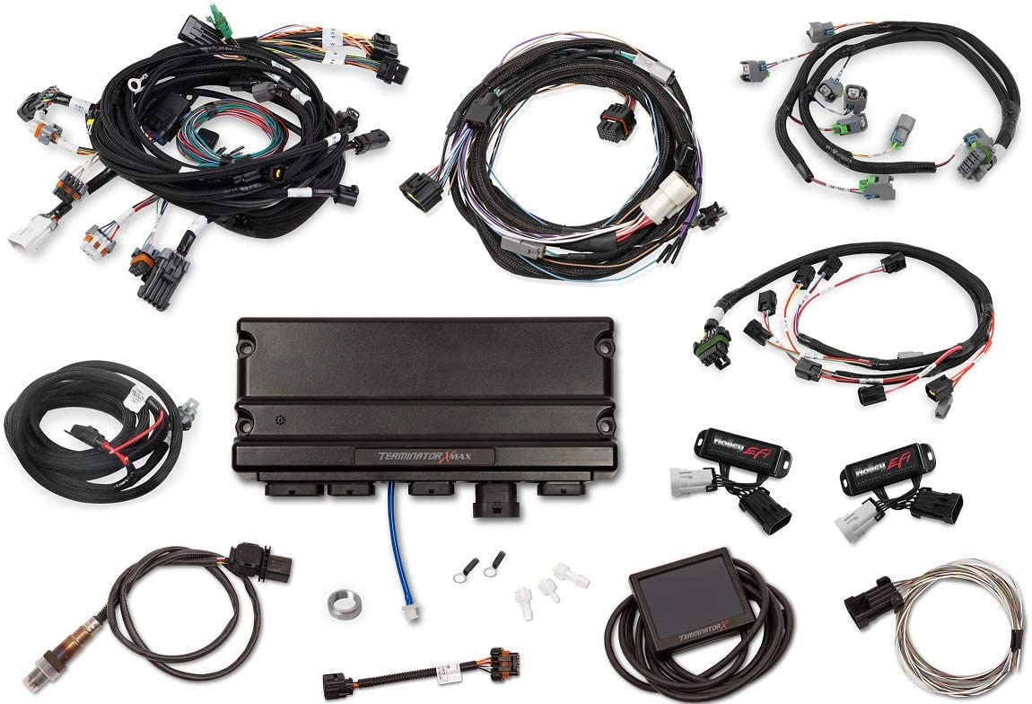 BRAND NEW HOLLEY TERMINATOR X MAX MOD MOTOR 4V KIT WITH TRANSMISSION CONTROL,COMPATIBLE WITH 1996-2005 FORD 4 VALVE MODULAR MOTORS WITH STOCK COILS,EV6 INJECTORS,4R70W TRANSMISSION CONTROL