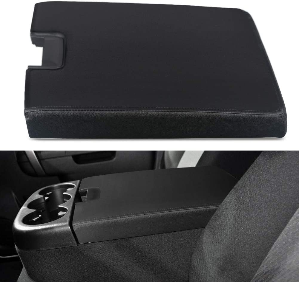 VANJING Compatible with Center Console Lid Armrest Kit Cover with Latch Chevy GMC Silverado Suburban Tahoe Sierra 2007-2013 Pickup Center Console Cover Repair Kit-Replaces 20864154