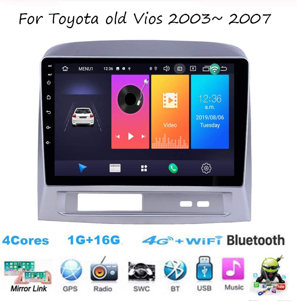 Android Car Stereo 9 Inch Android 9 Head Unit in-Dash HD Touch Screen for Toyota Vios 2003~2007 Car Radio Video Multimedia Player Supports WiFi GPS Full RCA Output OBD DAB