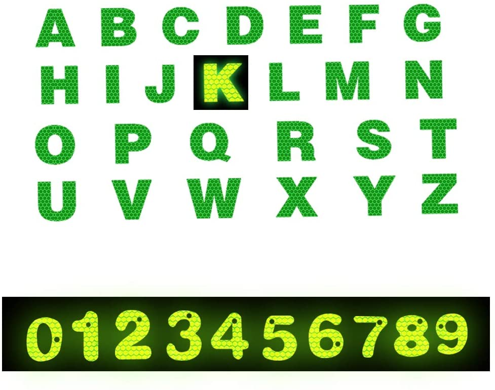 Reflective Tape Numbers 0-9 And 26 English Letters Reflective Decal - Waterproof High Visibility Safety Reflective Warning Tape for Suitcase Reflective Sticker GREEN 5 Pcs