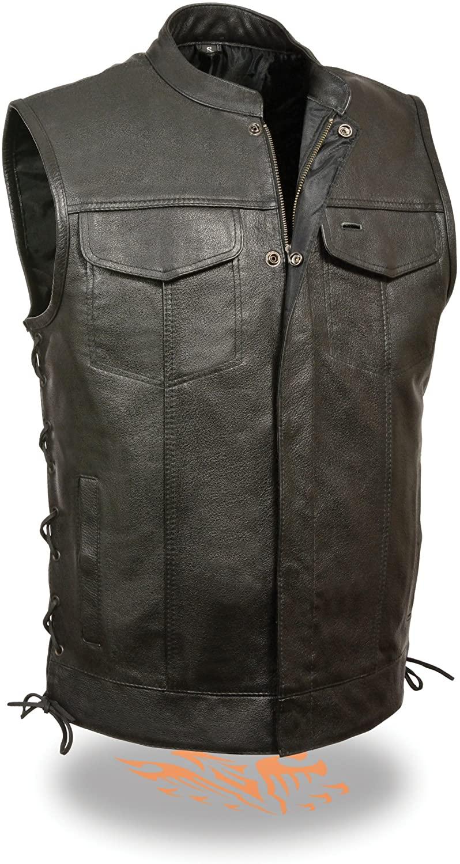Mens SOA Leather Vest w/ Side Lace & Dual Side Conceal Weapon Gun Pockets (Large)