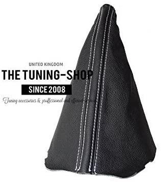 The Tuning-Shop Ltd Fits Opel Vauxhall Corsa C 2000-2006 E Brake Boot Black Italian Leather White Stitching
