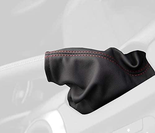 RedlineGoods ebrake Boot Compatible with Fiat 124 Spider 2016-19. Black Alcantara-Blue Thread