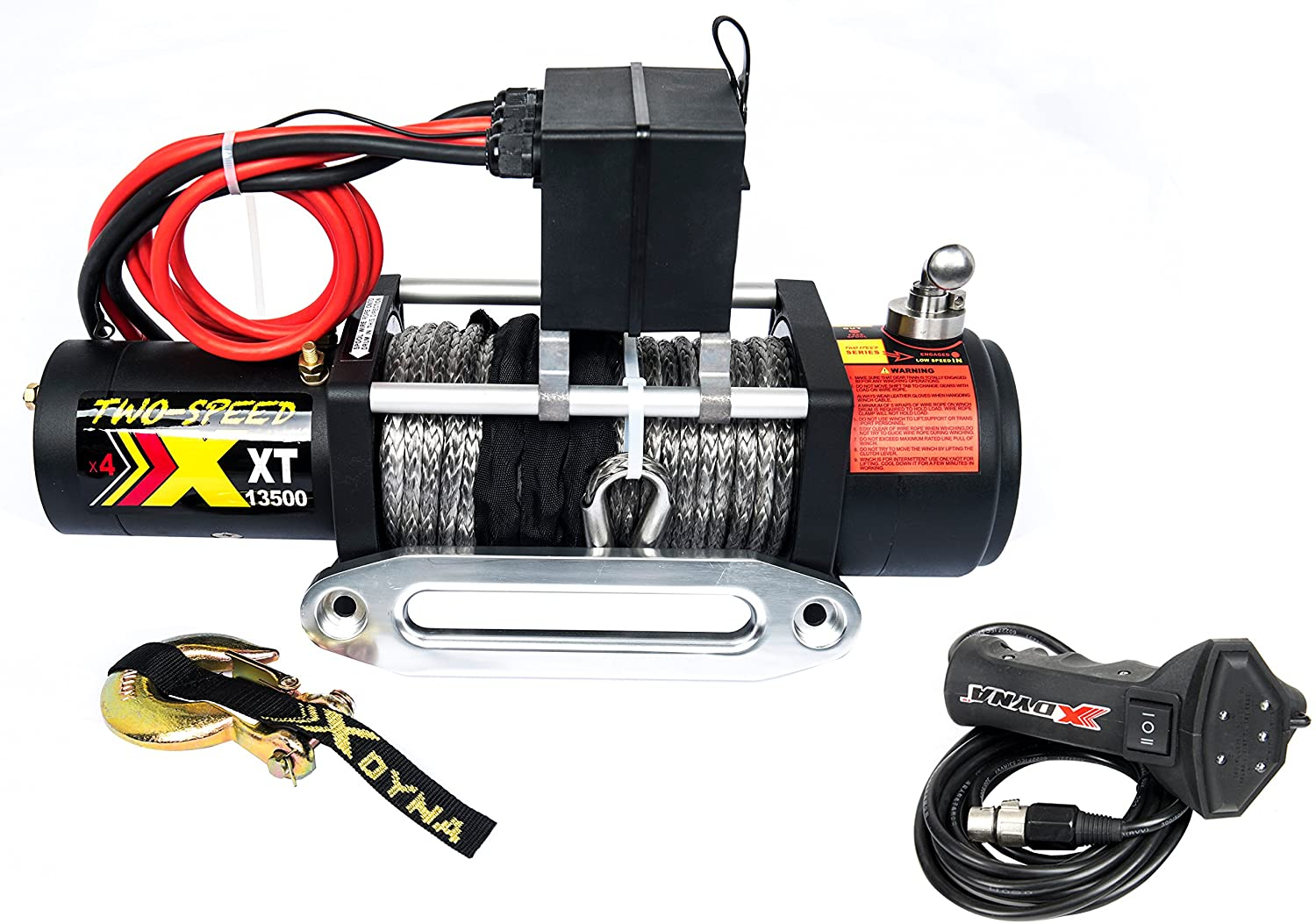 Two Speed 13500lbs 6.6HP Motor Winch, Change Gear Rate by Stainless Cluthch, Over 28m/min Speed, with Torque Limited Protector, Intelligent Remote Handle Showing Load, Used to SUV Track