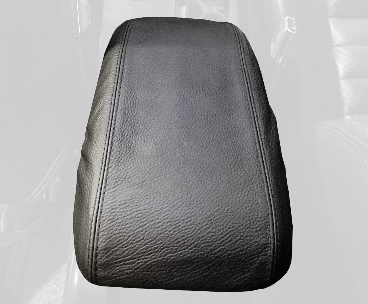 RedlineGoods cubierta de apoyabrazos Compatible with Ford Mustang 1987-93. Cuero Negro Costura Azul