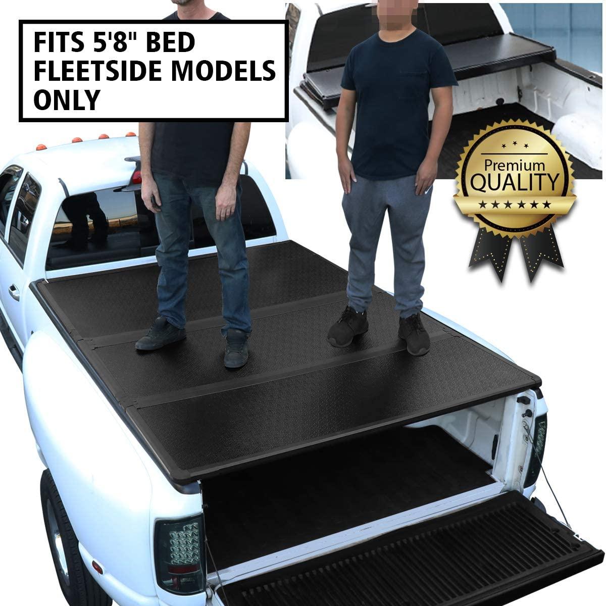 DNA Motoring TTC-HARD-030 Truck Bed Top Hard Solid Tri-Fold Tonneau Cover