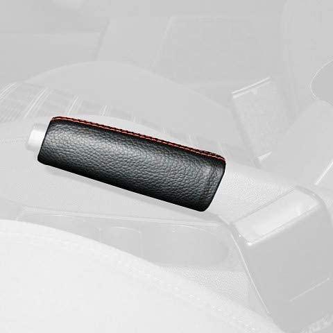 RedlineGoods ebrake Boot Compatible with Volkswagen Golf MK V 2003-09. Black Leather-Blue Thread