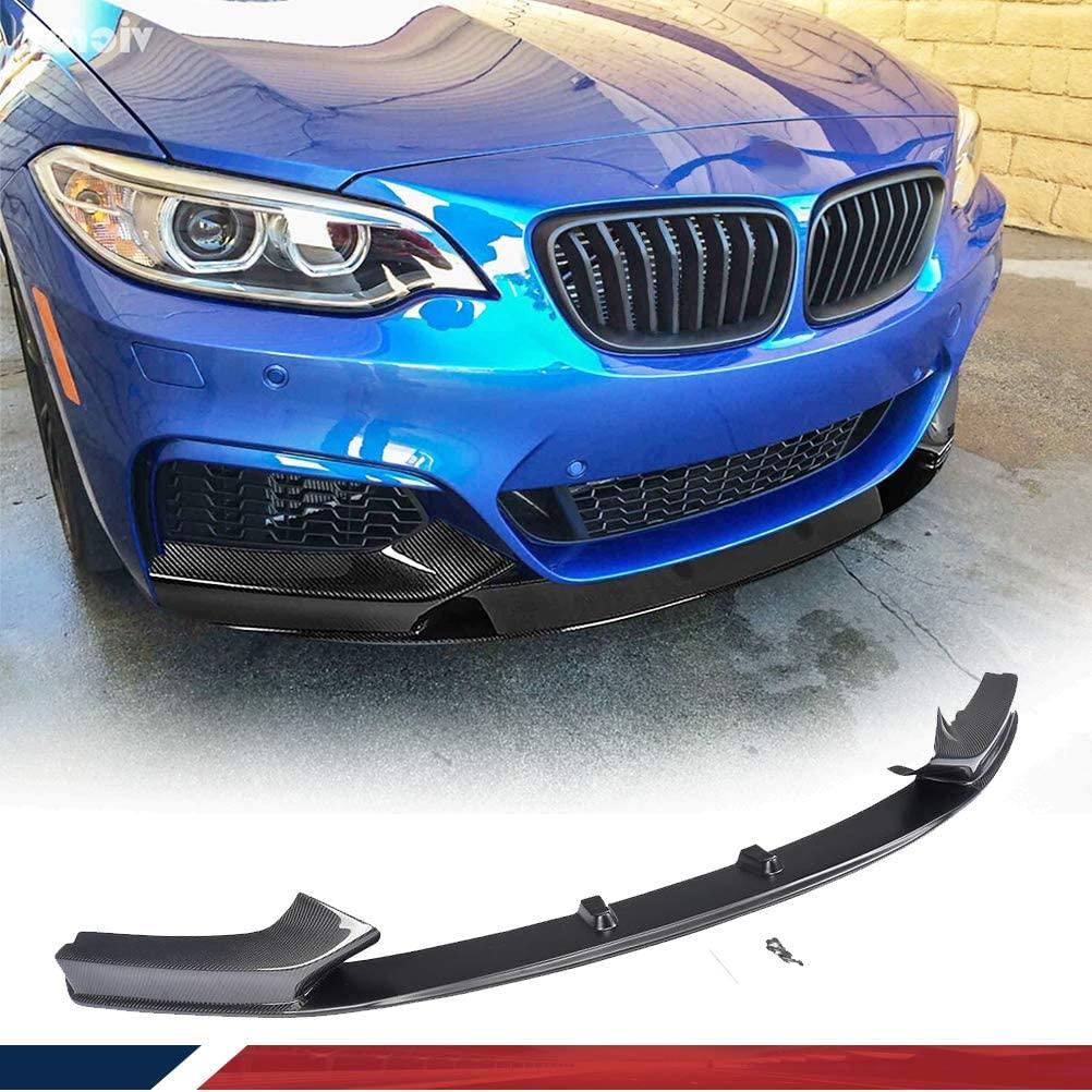JC SPORTLINE Carbon Fiber Front Lip fits for BMW 2 Series F22 220I 228I 235I M-SPORT 2014-2019 Chin Spoiler Front Bumper Lip Spoiler Chin Splitter Factory Outlet(Carbon Fiber+FRP))