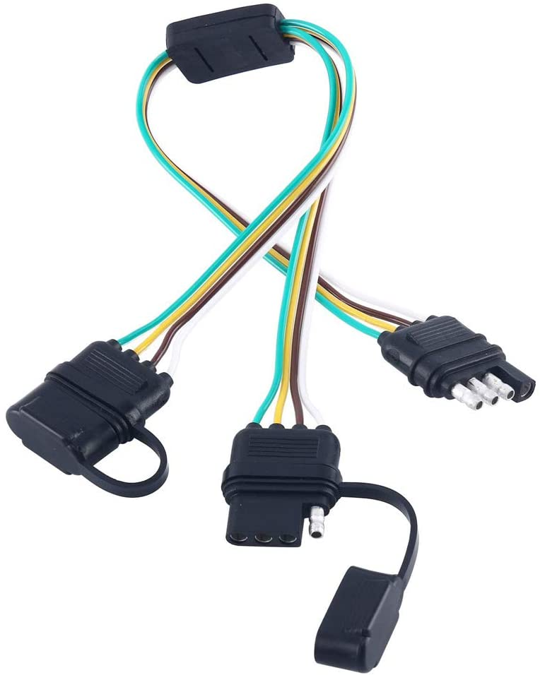 NEW SUN 4 Pin Flat Y-Splitter Wiring Harness with Rubber Cab for LED Brake Tailgate Light Bars Waterproof