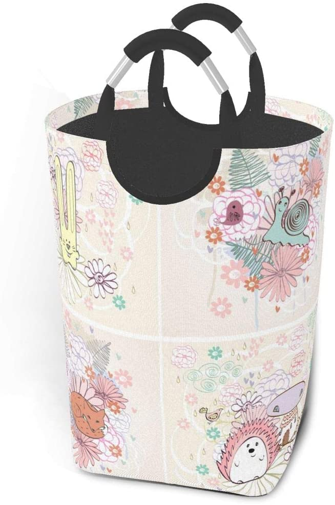 EJudge Laundry Basket Stylish Floral Cartoon Animals Large Collapsible Dirty Laundry Hamper Bag Tall Fabric Storage Baskets Rectangle Fold Washing Bin Hand Clothes Organizer for Kids,Dorm 50L