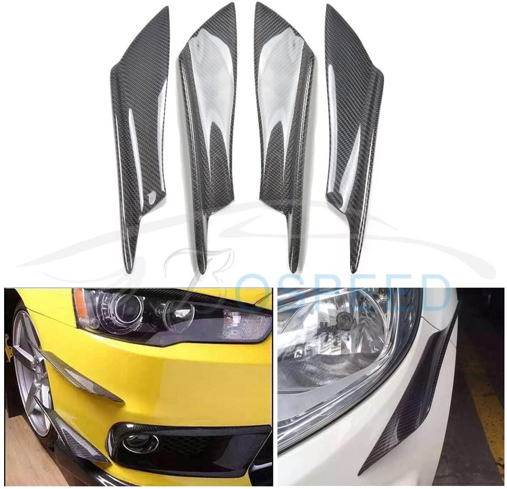 Bospeed TY-FLD-002 4pcs/set B Style Carbon Fiber Front Bumper Lip Kit for Mitsubishi Lancer EX EVO