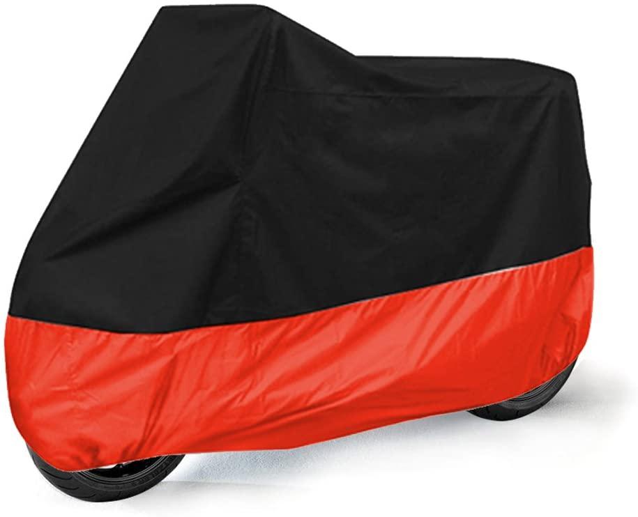 PROCNC All Season Black Waterproof Sun Motorcycle Cover,Fits Suzuki,Yamaha,Honda Motors (XLarge & Lockholes)
