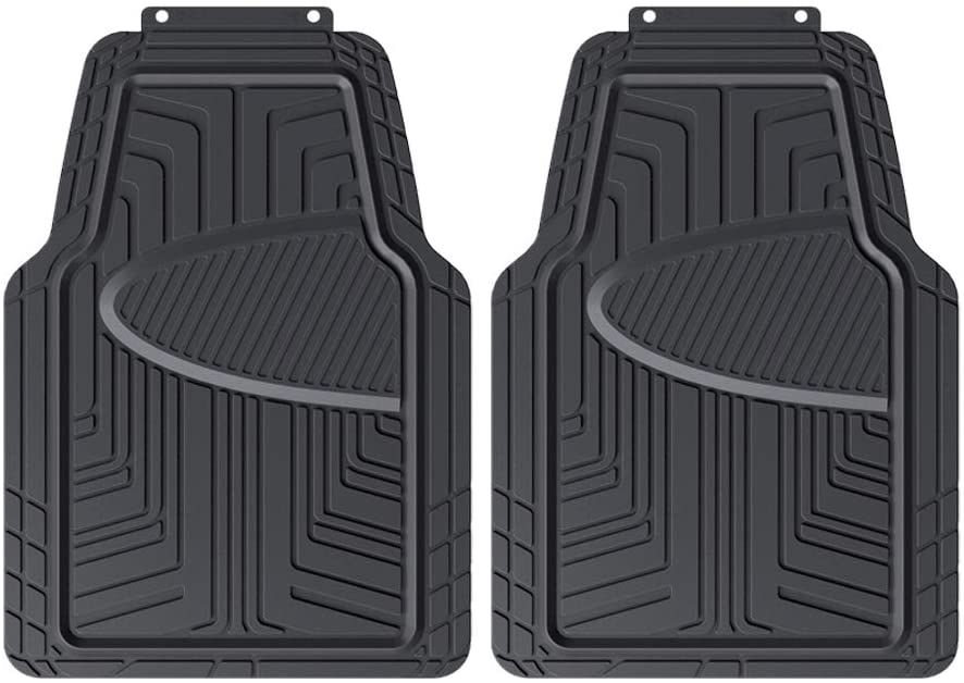 DHgateBasics 2-Piece All-Season Odorless Rubber Floor Mat for Cars, SUVs and Trucks, Black