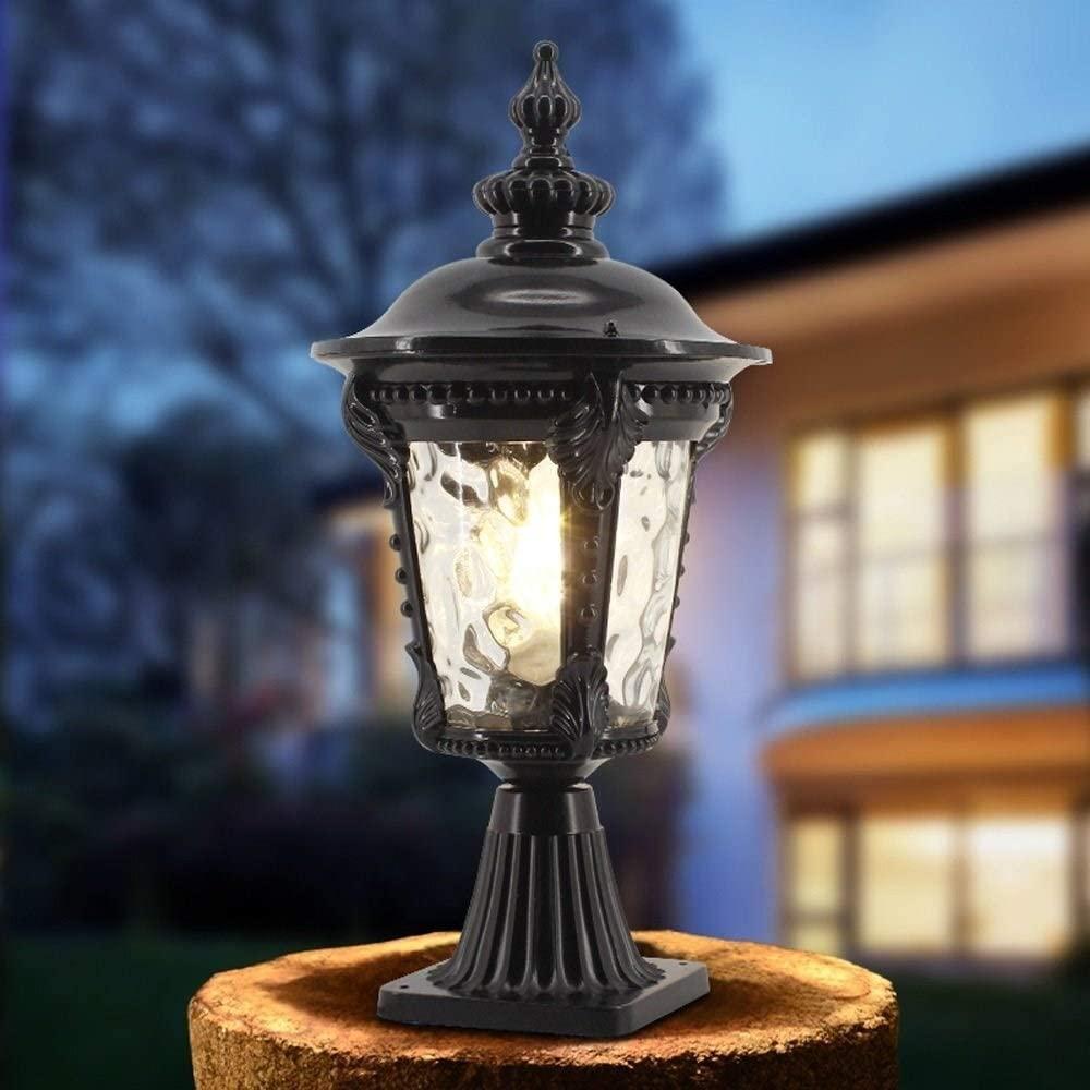 WHYA 51cm Traditional Victoria Porch Fence Column Lamp E27 Nostalgic Classic Vintage Aluminum Glass Lampshade Post Lantern American Outdoor Retro Villa Garden Lawn Light Street Lighting